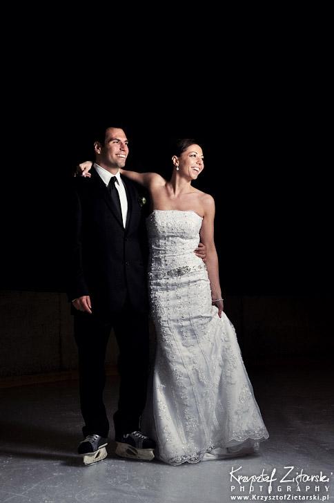 Sesja ślubna na lodowisku i na łyżwach