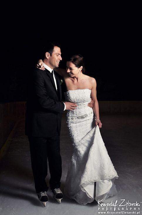 Plener ślubny na lodowisku