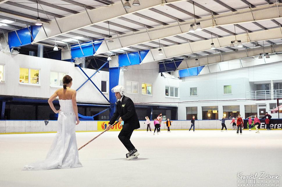 Plener ślubny na lodowisku - hokej