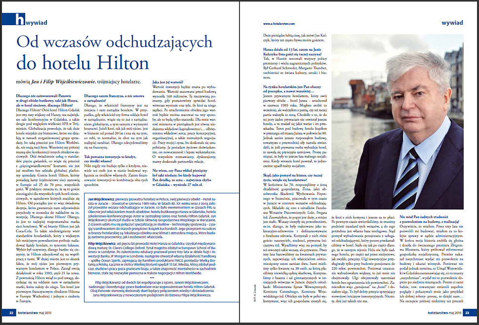 Hilton Gdańsk - Jan Wójcikiewicz - photo, interview