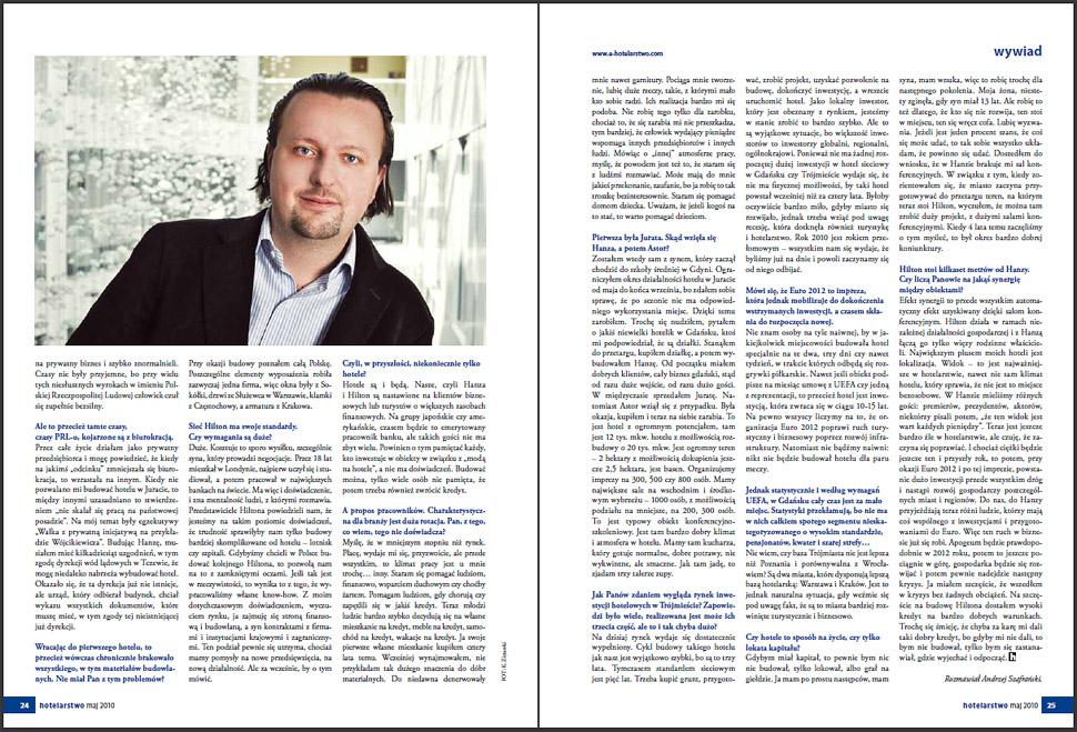 Hilton Gdańsk - Filip Wójcikiewicz - zdjęcie, wywiad