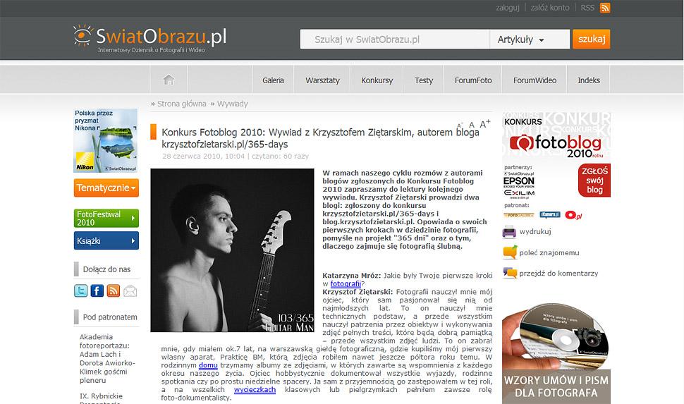 Wywiad dla ŚwiatObrazu.pl - Krzysztof Ziętarski