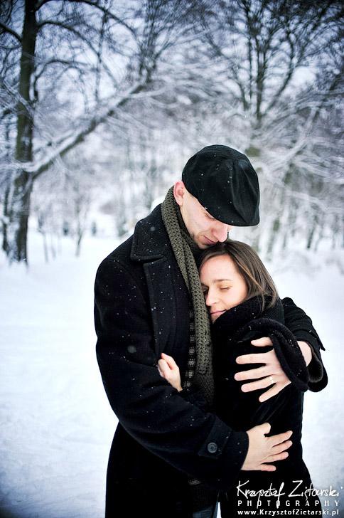 Zimowa małżeńska sesja fotograficzna - Gdańsk